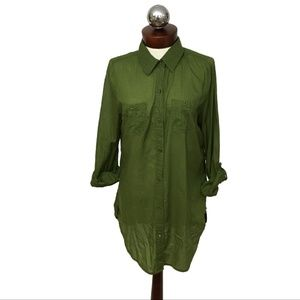 Anthropologie ODILLE tab sleeve olive tunic M